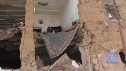 A house destroyed by airstrikes in Saada, Yemen © Human Rights Watch